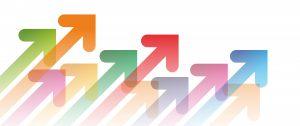 flèches multicolores point vers le haut à droite