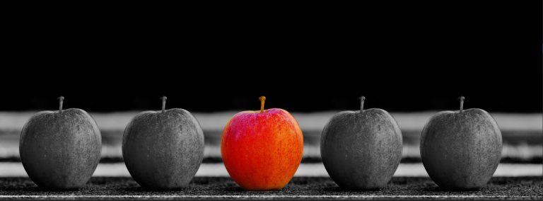 pommes en noir et blanc sauf une